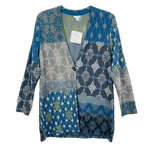 J. Jill Multi Print Tunic Length One-Button Cardigan Wool Blend - L - NWT